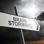 Brain Storming direction. Traffic sign with cloudy sky in the background.