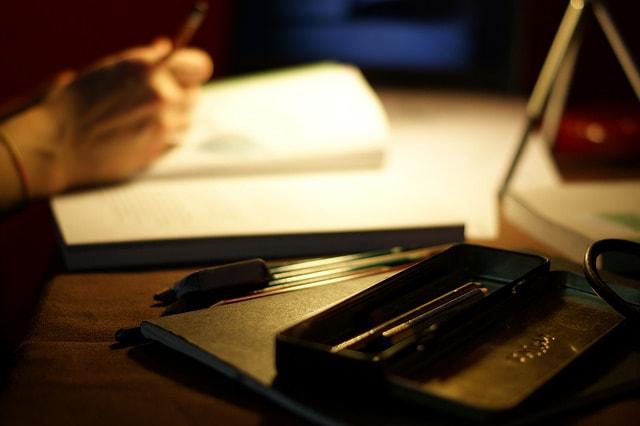 Desk with pencil case by Nicola Sapiens De Mitri