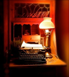 Lamp, typewriter, and specs..by John Levanen