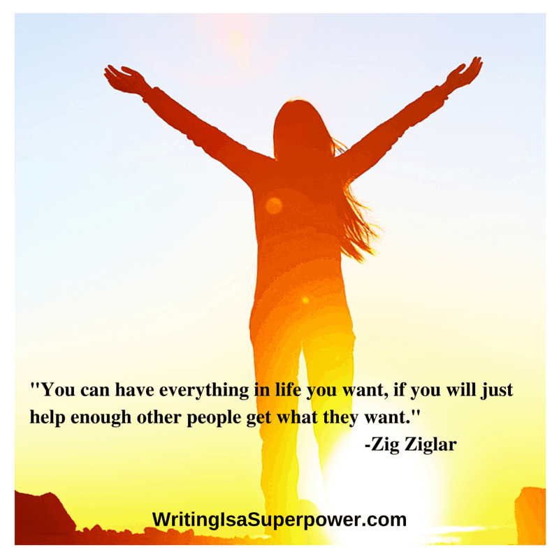 Girl raising arms to the sun, quote-You can have everything in life you want, if you will just help enough other people get what they want.- -Zig Ziglar1